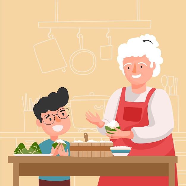 Familie die en rijstzongzi voorbereidt eet Gratis Vector