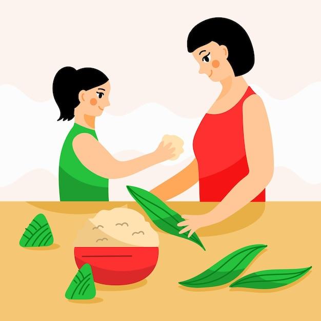 Familie die en zongzi voorbereidt eet Gratis Vector