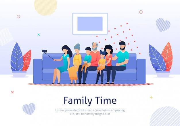 Familie die goede tijd doorbrengen die foto samen nemen. Premium Vector