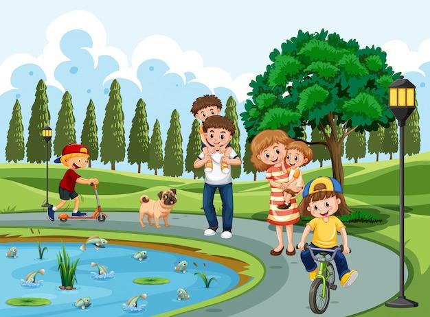 Familie die in een park uitoefent Premium Vector