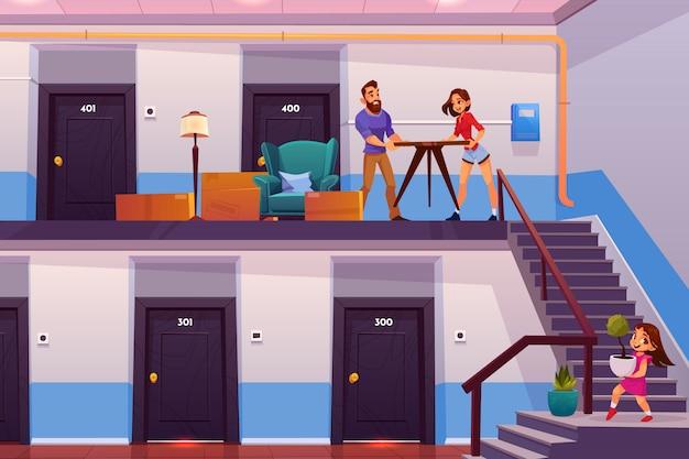 Familie die naar het nieuwe vectorconcept van het huisbeeldverhaal beweegt Gratis Vector