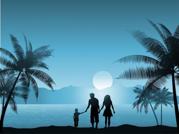 Familie die op het strand bij nacht loopt Gratis Vector