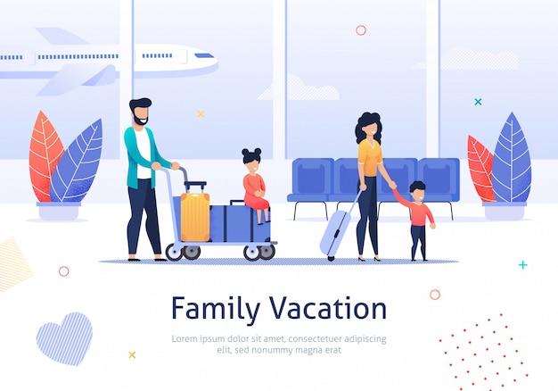Familie die op vakantie in luchthaventerminal gaat. Premium Vector