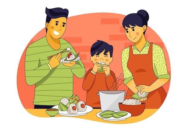 Familie die zongzi-illustratie eet Gratis Vector