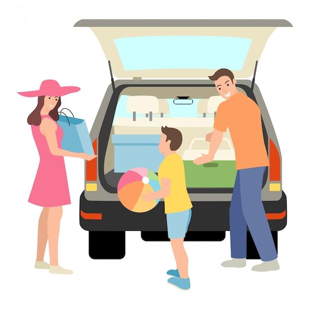 Familie dingen in de kofferbak van de auto Premium Vector