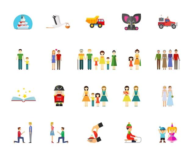 Familie en generatie icon set Gratis Vector