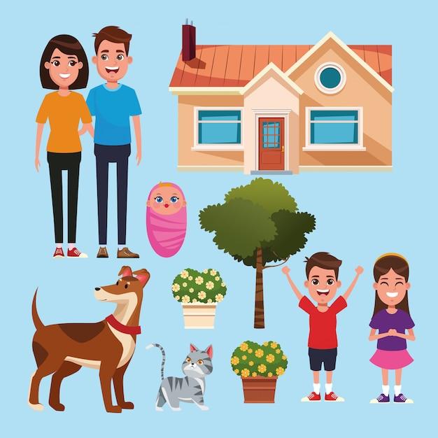 Familie- en huiscartoons Premium Vector