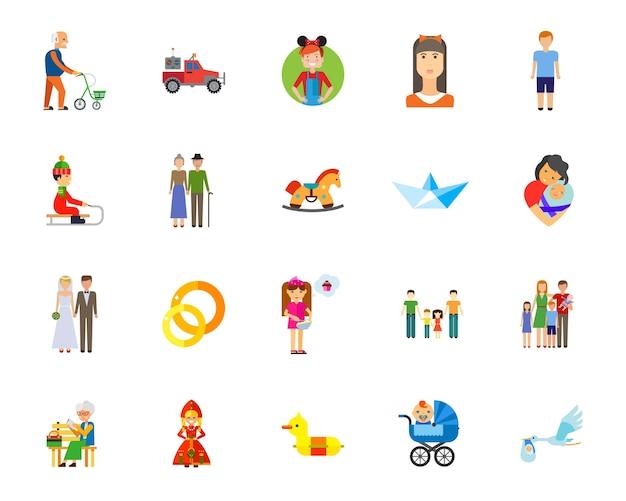 Familie en huwelijk pictogramserie Gratis Vector
