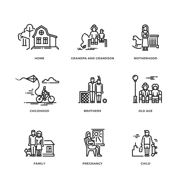 Familie en ouders, huwelijk en moederschap dunne lijn pictogrammen instellen Premium Vector