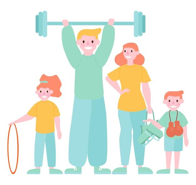 Familie- en sportactiviteit. moeder, vader en kinderen die gymnastiek doen Premium Vector