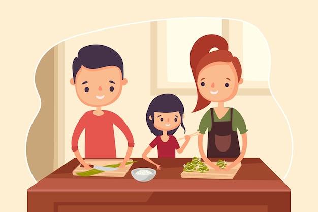 Familie eten zongzi concept Gratis Vector