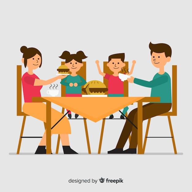 Familie eten Gratis Vector