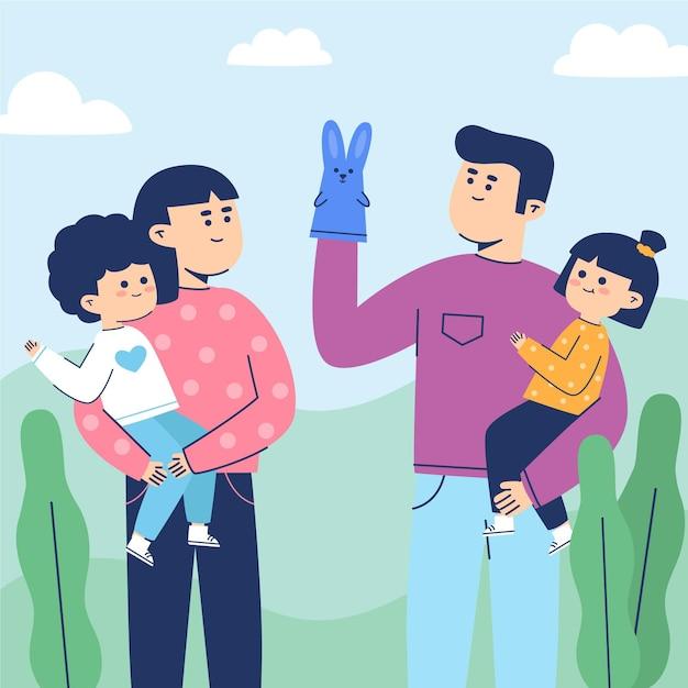 Familie genieten van tijd samen Gratis Vector