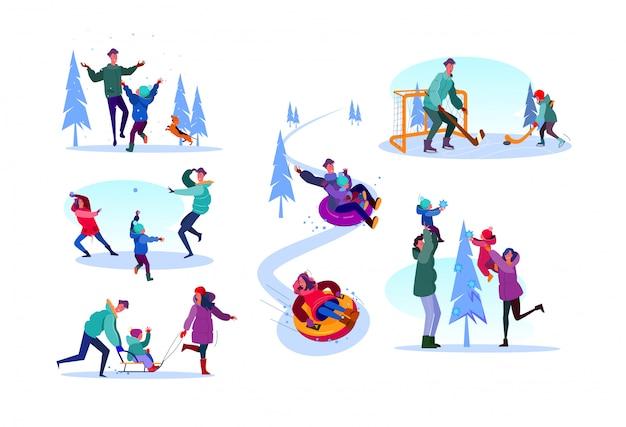Familie genieten van winteractiviteiten set Gratis Vector