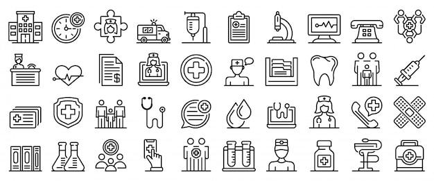 Familie gezondheid kliniek iconen set, kaderstijl Premium Vector