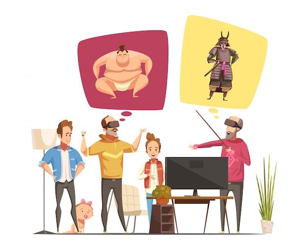 Familie hobby's ontwerpconcept met familieleden cartoon beeldjes en hun virtuele realiteit bril platte vectorillustratie Gratis Vector