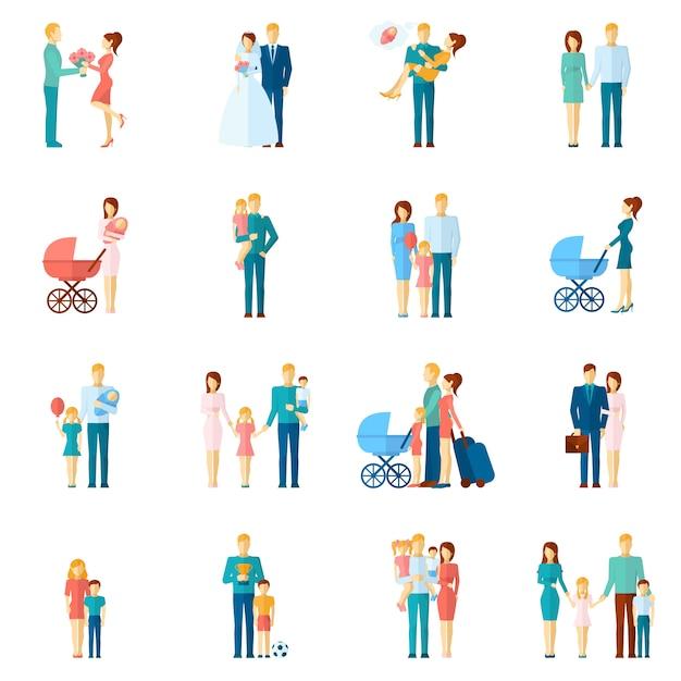 Familie icons set Gratis Vector
