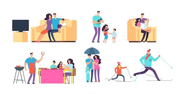 Familie in dagelijkse activiteiten. moeder, vader en kinderen brengen tijd samen door, zowel thuis als buitenshuis. Premium Vector