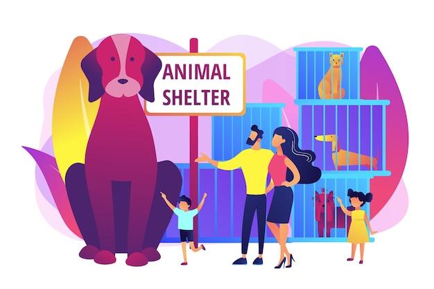 Familie in een opvangcentrum dat puppy kiest. dakloze honden in kooien. dierenasiel, reddingsacties voor de adoptie van huisdieren, kom een vriendenconcept kiezen. heldere levendige violet geïsoleerde illustratie Gratis Vector
