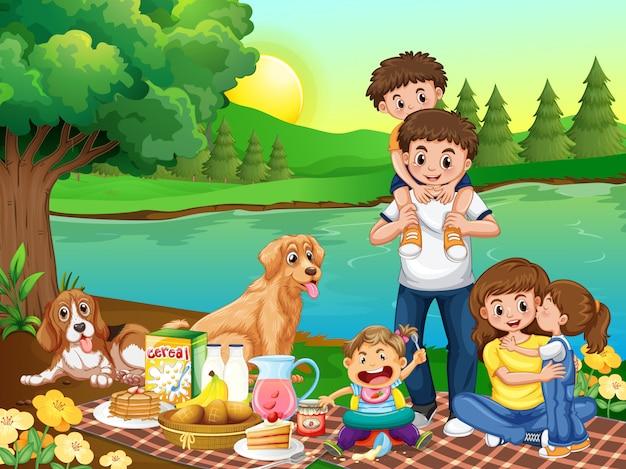 Familie in het park Gratis Vector