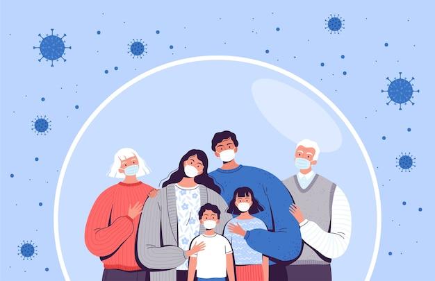 Familie in medische maskers staat in een beschermende zeepbel. volwassenen, ouderen en kinderen worden beschermd tegen het nieuwe coronavirus covid-2019. Premium Vector