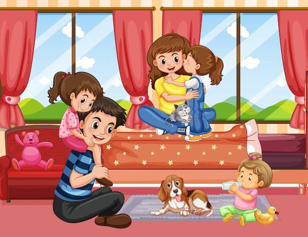 Familie in woonkamer scène of achtergrond Gratis Vector