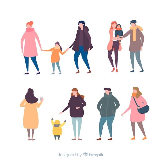 Familie in zachte kleuren Gratis Vector