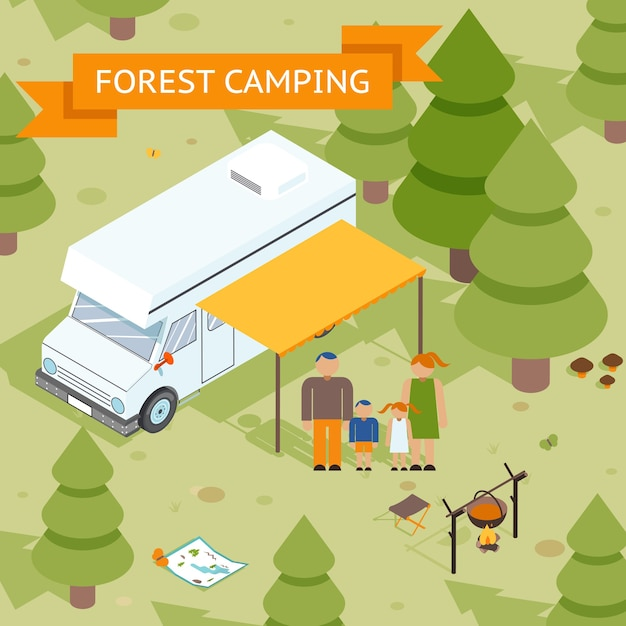 Familie isometrische bos camping. vader moeder dochter en zoon rusten in de natuur. vector illustratie Gratis Vector