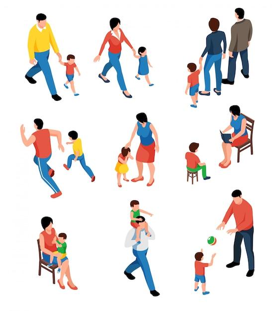 Familie isometrische set met ouders spelen en wandelen met hun kinderen geïsoleerd Gratis Vector