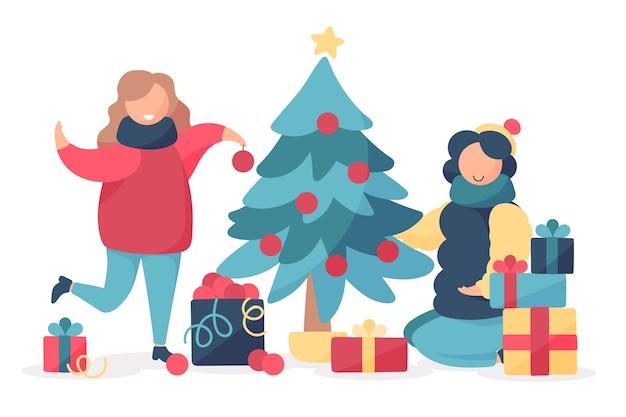 Familie kerstboom versieren Gratis Vector