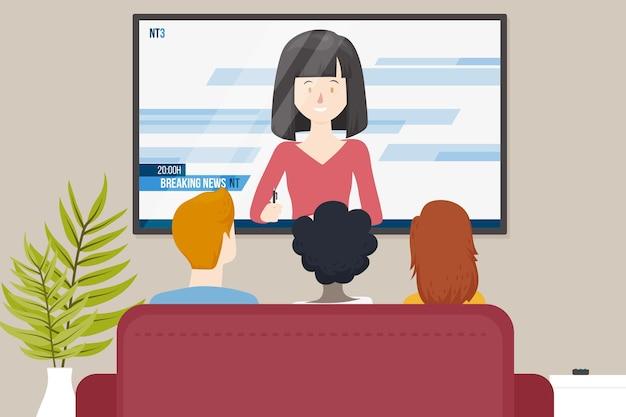 Familie kijken naar het nieuws binnenshuis Gratis Vector