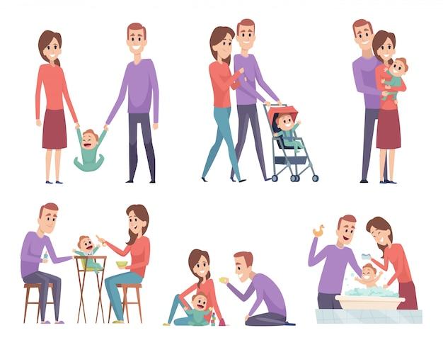 Familie koppels. hou van moeder en vader spelen met hun kleine kinderen gelukkig moeder vader ouders vectorillustraties Premium Vector