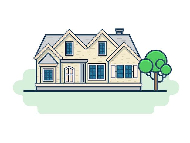 Familie landhuis architectuur bouwset. lineaire lijn overzicht vlakke stijl iconen. kleur lineaire icoon collectie. Gratis Vector