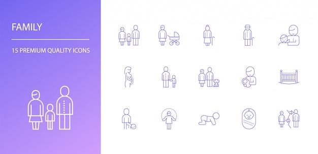 Familie lijn icon set Premium Vector