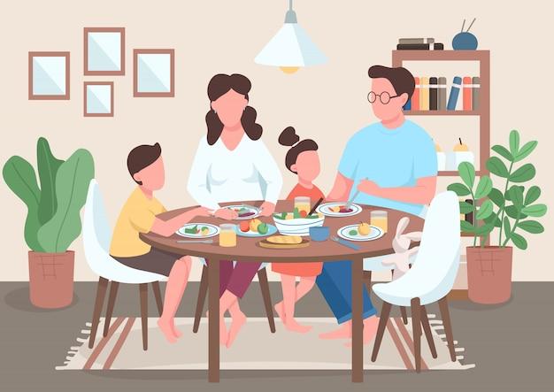 Familie maaltijd illustratie Premium Vector