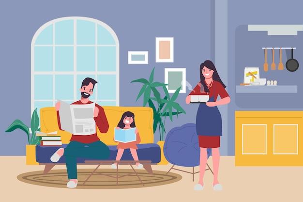 Familie mensen blijven thuis bij geliefden en ouders. Premium Vector