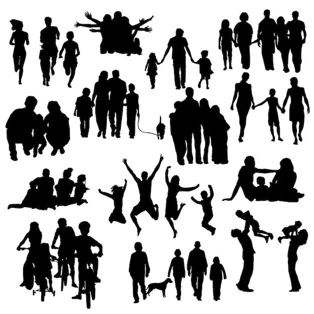 Familie mensen gelukkig silhouet clip art vector Premium Vector