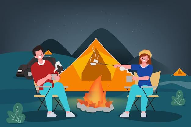 Familie mensen kamperen 's nachts buiten reizend concept. Premium Vector