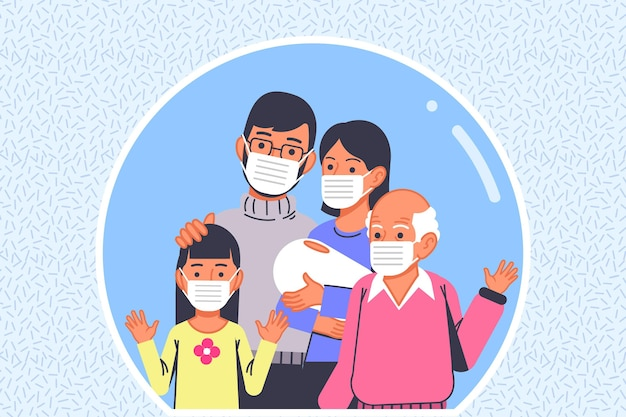 Familie met gezichtsmaskers beschermd tegen het virus Gratis Vector