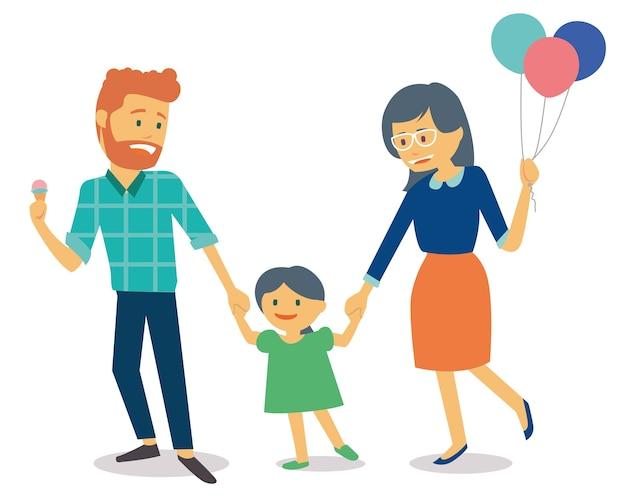 Familie met jonge jongen en moeder die ballonnen Premium Vector