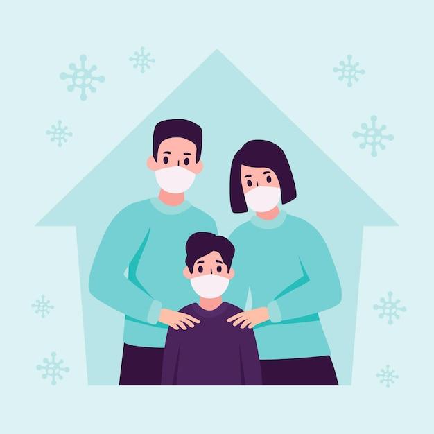 Familie met medisch masker beschermd tegen het virus Gratis Vector