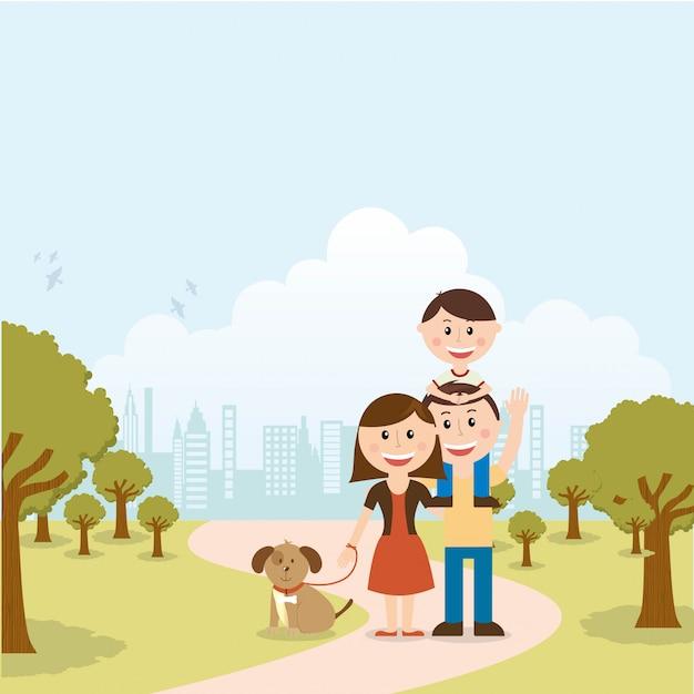 Familie ontwerp over landschap achtergrond vectorillustratie Premium Vector
