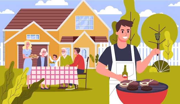Familie op bbq-feest in de achtertuin van het huis glimlachend en eten. smakelijke barbecue koken op de grill met familie en vrienden. illustratie Premium Vector