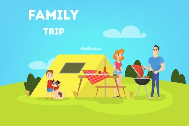 Familie op bbq-feest in de achtertuin Premium Vector