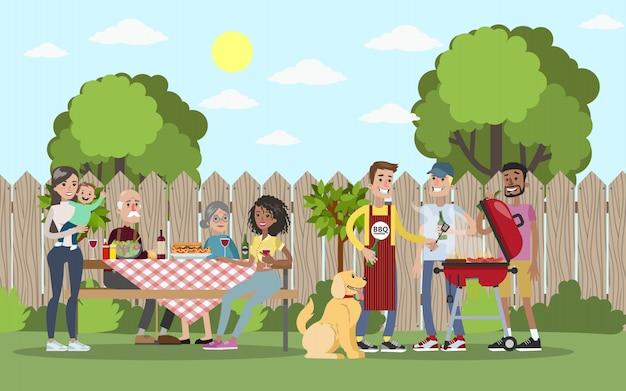 Familie op bbq partij op de binnenplaats glimlachen en eten. Premium Vector