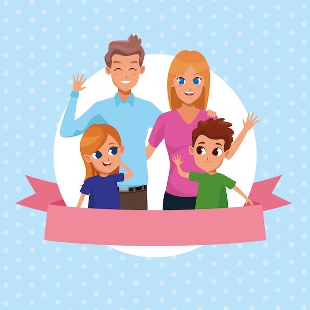 Familie-ouders en kinderen cartoons Gratis Vector