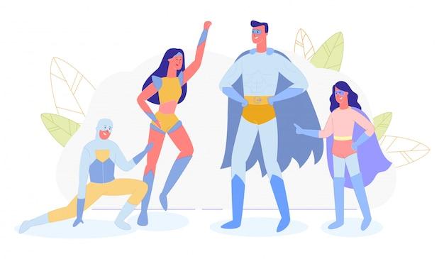 Familie, ouders en kinderen in super hero-kostuums Premium Vector