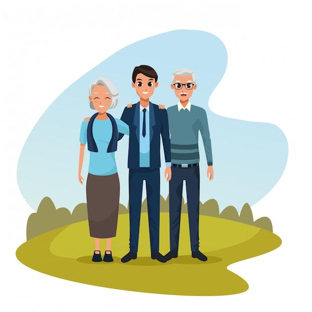 Familie ouders en zoon cartoons Gratis Vector
