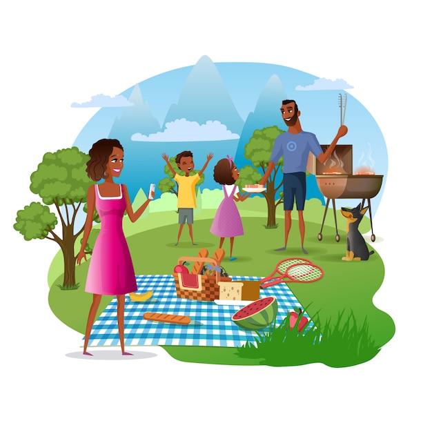Familie-picknick in nationaal park cartoon vector Premium Vector