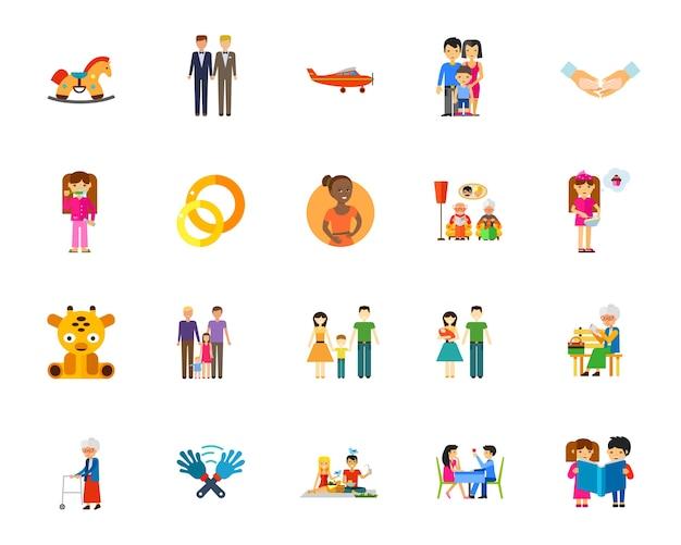 Familie pictogramserie Gratis Vector
